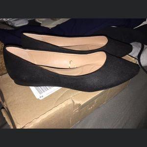 Size 10W Lane Bryant black almond toe flats